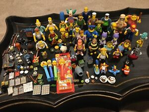 Huge Lot Of The Simpsons Faces of Springfield Deluxe Figures, Playmates