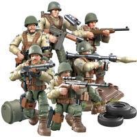 6pcs/lot Militär Soldaten Figuren mit Waffen Bausteine Armeemänner Spielzeug Toy