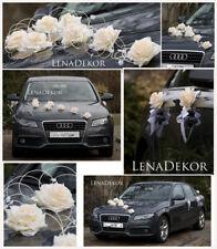 JULKA ECRU CREAM wedding car decoration flowers  ribbon bows prom limousine