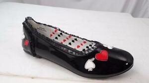FUNTASMA 'ALICE-12' US 6 BLACK PATENT  BALLET FLATS SPADE HEART DIAMOND CLUB NOS