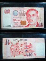 SINGAPORE $10 DOLLARS 1999 P40 SHARP 992# Currency Bank Money Banknote