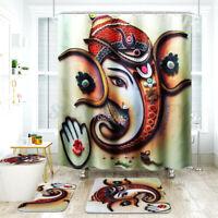 4Pcs Bathroom Pedestal Rug + Lid Toilet Cover + Bath Mat + Shower Curtain S