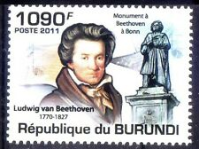 Burundi 2011 MNH, Beethoven, German Pianist, Composer, Music, Statue, -H@
