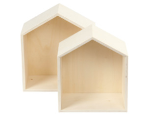 Set of 2 wooden house shelf box shadow box nursery Scandi natural display