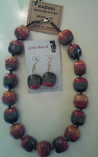 Kazuri Hand-Painted Fair Trade Sanduku Ceramic Necklace Earring Set Kenya.