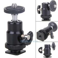 "360° Mini Ball Head Hot Shoe 1/4"" Flash Bracket Mount Screw For Camera Tripod"