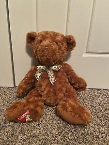 "Dakin Teddy Bear Plush Curly Hair Foot Patch 16"" Paw Print Ribbon"