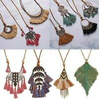 Bohemia Women Spiral Tassel Fringe Pendant Necklace Long Sweater Chain Jewelry L