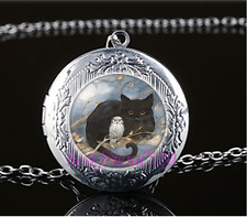 Black Cat With Owl Cabochon Glass Tibet Silver Locket Pendant Necklace