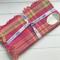 April Cornell Set of 4 Napkins Pink & Yellow Plaid with Fringe 100% Cotton NWT