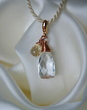Quarz Bergkristall Citrin Anhänger Rose Gold Quartz Rock Crystal Citrine Pendant
