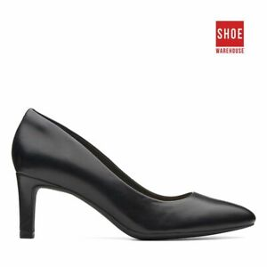 Clarks CALLA ROSE Black Womens Heels Dress/Formal Leather Heels