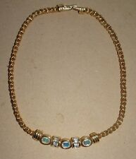 GORGEOUS SWAROVSKI SWAN MARK AURORA BOREALIS GOLD TONE ROPE CHOKER NECKLACE