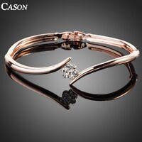 18K Rose Gold Plated Bangle Fashion Austrian Crystal Bracelet Christmas Gift
