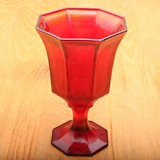 Vintage Red Panel Pattern Goblet Wine Footed Water Glass