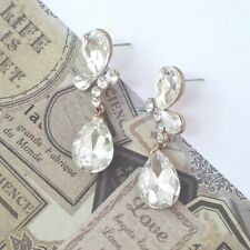 Dangle Drop Stud Earrings Beautiful Sparkling Butterfly Teardrop Chandelier