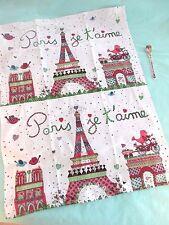 """Paris France """"I Love Paris"""" Kitchen Dish Towel 100% Cotton Eiffel Tower w/SPOON!"""