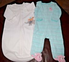 EUC CARTER'S White Sleep Sack elephant & green pastel Play 'n go Pajama Kitty 9M