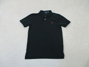 Ralph Lauren Polo Shirt Youth Large Black Red Pony Cotton Rugby Kids Boys A3