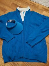 Lot of Ep Pro womens Golf Sweater, short sleeve collared shirts, visor blue Xl