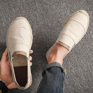 Men Linen Canvas Shoes Causal Comfy Breathable Loafer Slip On Espadrilles Shoes