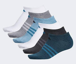 6 Pair Adidas Superlite No Show Socks, Women's Shoe Size 5-10, Blue, White L19 P