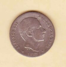 1882  SPAIN Philippines Alfonso XII 20 centavos F-VF, SILVER coin