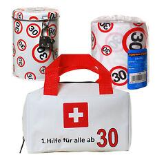 Geschenkset Erste Hilfe Tasche + Toilettenpapier + Spardose 30. Geburtstag 30