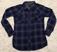 RAILS Womens Hunter Flannel Dark Purple Plaid Button Down Top Shirt Size S