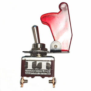 IndusTec Race Car Toggle - Switch 12V DC Red Aircraft Flip Safety Cover 20A NOS
