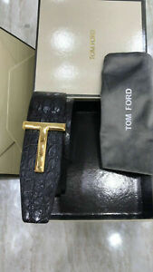 New TOM FORD Silver Crocodile Icon Belt in Black Size 38 US 95 CM AUTHENTIC.