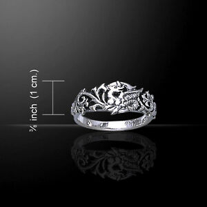 Dragon Scroll .925 Sterling Silver Ring by Peter Stone Jewelry Fine