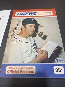 FINE JOE DIMAGGIO SIGNED 1973 TIGERS VS. A's PROGRAM~BECKETT COA~MARTIN COVER