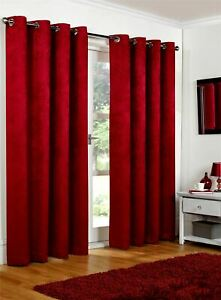 Luxury Cranberry Embossed Thermal Blackout Eyelet Ring Top Lined Pair Curtains