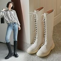 Womens Fashion Round Toe Lace Up Riding Boots Block Low heels Knee High Boots