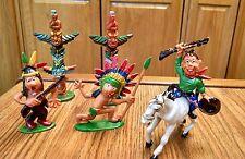 Vintage Western Playset 6 Pieces, Cowboy, Indians, Horse, Totem Poles