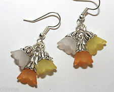 white yellow orange Lucite bell flowers flower beaded silver EARRINGS Jewellery