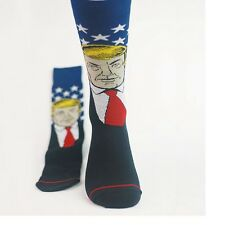 NEW GIFT DONALD Crew Socks Navy Blue Cotton TRUMP election novelty Republican
