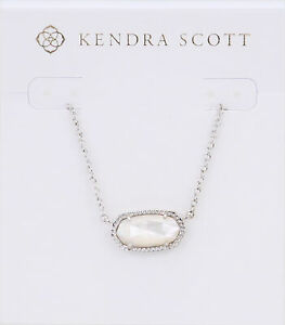 Kendra Scott Elisa Oval Pendant Necklace in Ivory and Rhodium Plated