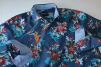 Tommy Bahama Shirt Aster Park Floral Ocean Deep T317446 Silk LS New Medium M
