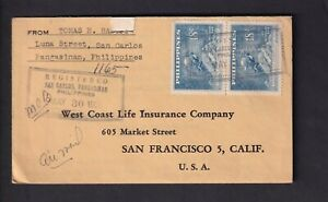 PHILIPPINES to US San Francisco CA 1950 Cover Registered Mail