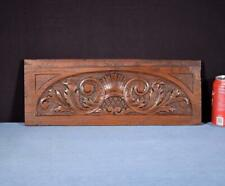 "*17"" French Antique Hand Carved Architectural Panel Solid Oak Wood Trim"