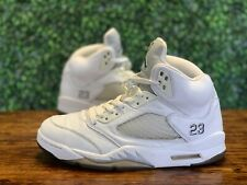 Nike Air Jordan 5 Metallic White Silver Size 9 136027-130
