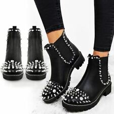 Womens Ladies Black Flat Winter Ankle Boots Studded Grunge Pull On Chunky Size