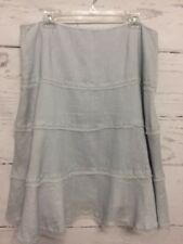 Tahari Women's Size 14 Fully Lined 100% Linen Light Blue A-Line Skirt