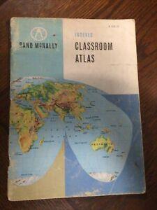 Vintage Rand McNally Indexed Classroom World Atlas 1961 Map VTG Book