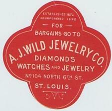 A J Wild Jewelry Watches St. Louis  poster stamp sticker label seal cc1900 94