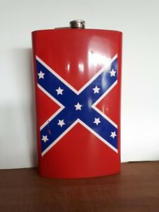 64 Oz Metal Flask Used Civil War Theme Htf