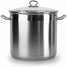 20 Litre Large Deep Stainless Steel Cooking Stock Pot Glass Lid Induction Base