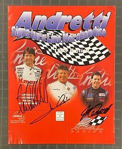 Mario Andretti, Michael Andretti + Multi Signed Signature Line Magazine AUTO